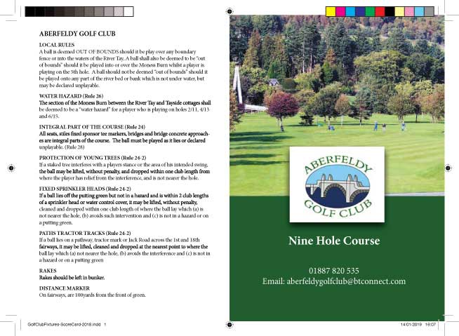 aberfeldy golf club score card